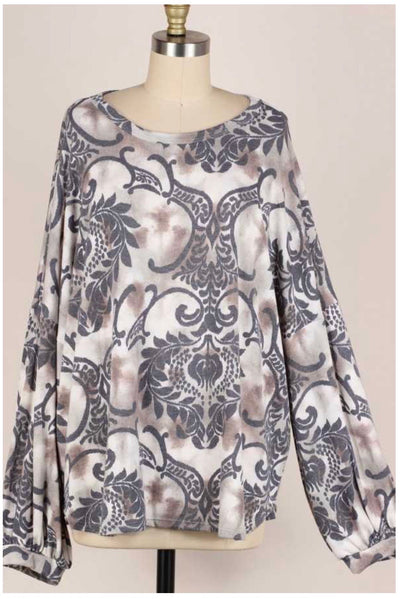 48 PLS-A {Elegant Designs} Mocha Grey Damask Knit Top PLUS SIZE XL 2X 3X