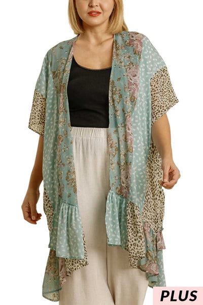 65 OT-P {Waves Of Happiness}  UMGEE Blue Floral PLUS SIZE XL 1X 2X