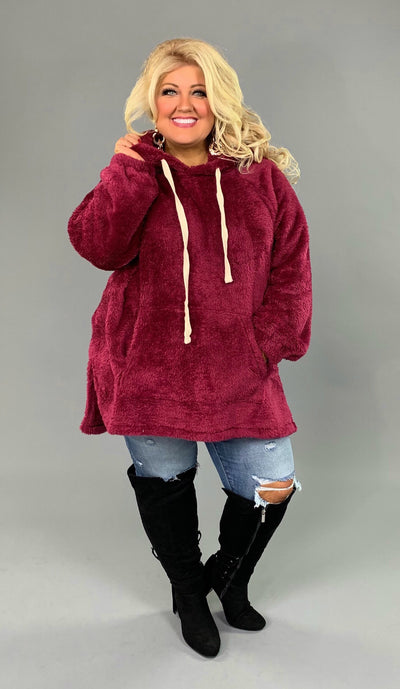 HD-X {The Cozy Touch} SALE!! WINE Faux Fur Hoodie SALE!