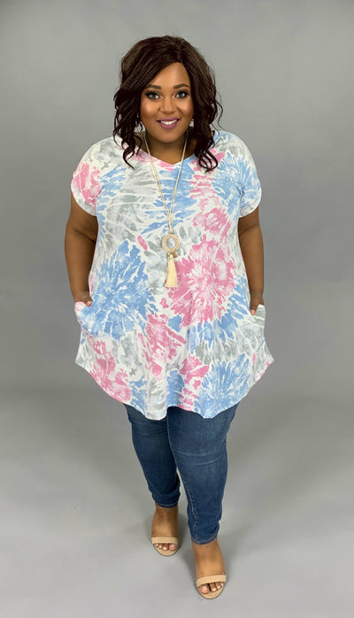 PSS-D {Splish Splash} Blue/Pink/Gray Abstract Design Dress PLUS SIZE 1X 2X 3X