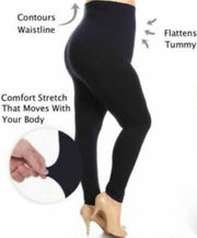 LEG-24/Y/L/I {Basic Need}**TUMMY CONTROL**  Black Knit Leggings PLUS SIZE