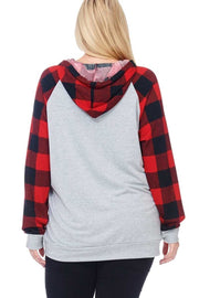 36 HD-A {Leopard Tree}  SALE!! Grey Red Plaid Leopard Hoodie PLUS SIZE XL 2X 3X