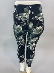 SLS/35 {Floral Goddess} Black/Gray Capri Floral Print Leggings