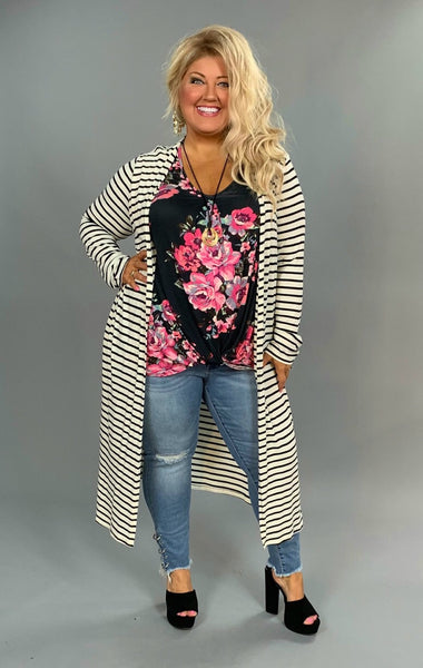 SET- {Hold It Together} Navy Floral Top & Striped Cardigan