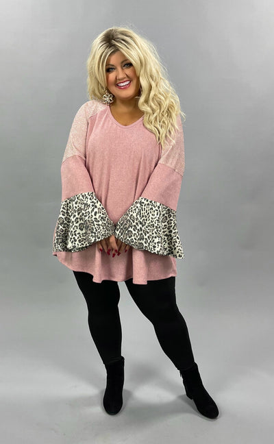 42 CP-Q {Sweet Escape}  SALE!! Blush Pink Leopard Ruffle CURVY BRAND EXTENDED PLUS SIZE 3X 4X 5X 6X