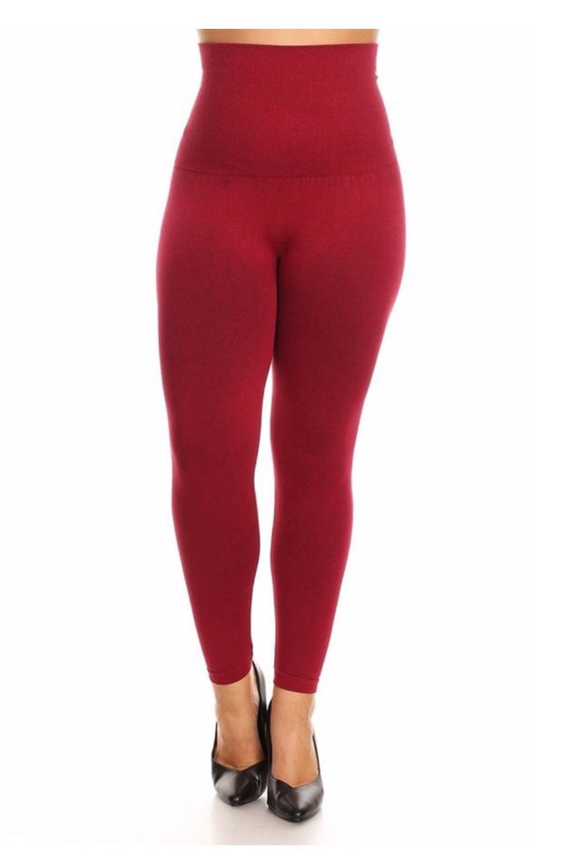 LEG/9- French-Terry BURGUNDY Tummy Control Leggings