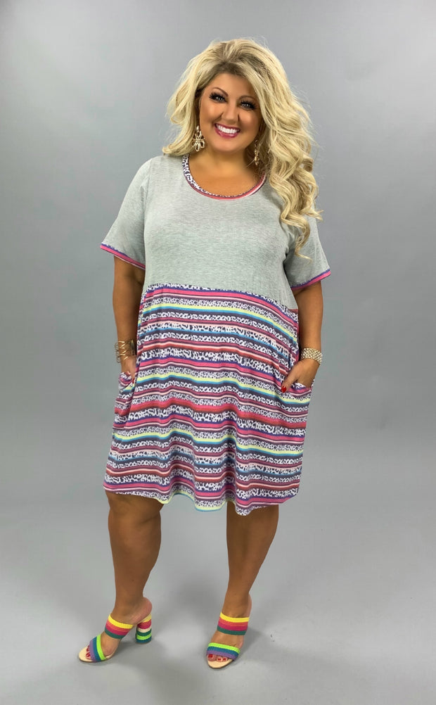 CP-A {Late To A Party} SALE!!  Grey Pink Leopard Contrast Dress CURVY BRAND EXTENDED PLUS SIZE 3X 4X 5X 6X