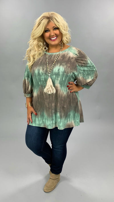 PQ-L {Speak Peace} Mauve Aqua Tie Dye Bubble Sleeve Top PLUS SIZE XL 2X 3X