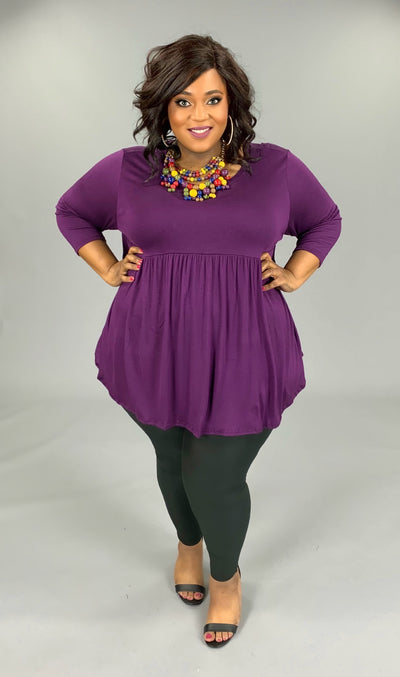 SQ-D/Y {Step Aside} Purple Babydoll Tunic W/ 3/4 Sleeves EXTENDED PLUS SIZE 1X 2X 3X 4X 5X 6X