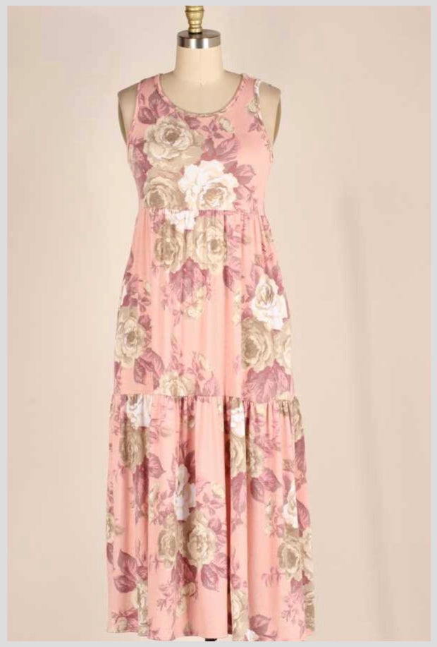 LD-B {Carnation Blooms} Pink Sleeveless Floral Tiered Dress PLUS SIZE 1X 2X 3X