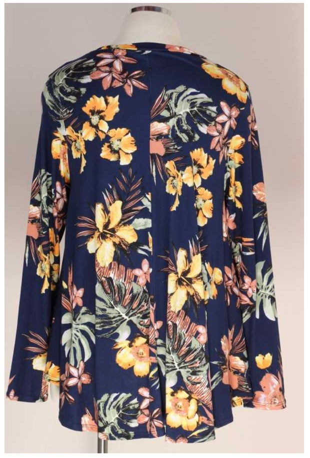PLS-A {Spend Some Time} Navy Yellow Flower Print Tunic BUTTER SOFT EXTENDED PLUS SIZE 3X 4X 5X