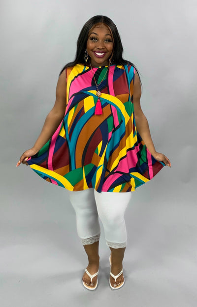 SV-L {Let's Vacay} Magenta/Mustard Multi Color Print Tunic EXTENDED PLUS SIZE 3X 4X 5X