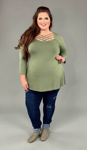 SQ-P {California Dreaming} Light Olive Cage Neck Top