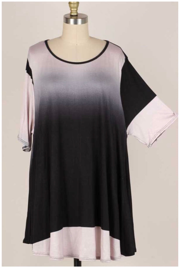54  PSS-N {Fade to Black} Black Gray Ombre Tunic  EXTENDED PLUS SIZE 3X 4X 5X