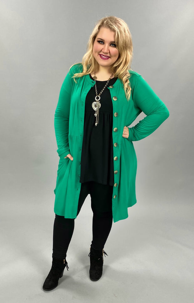 10-23 SLS-O {This Is Why} Green Button Detail Tunic PLUS SIZE XL 2X 3X