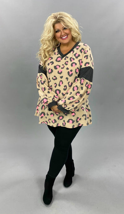 CP-M {Wildcard} Beige Pink Grey Leopard Print Knit Top PLUS SIZE XL 2X 3X