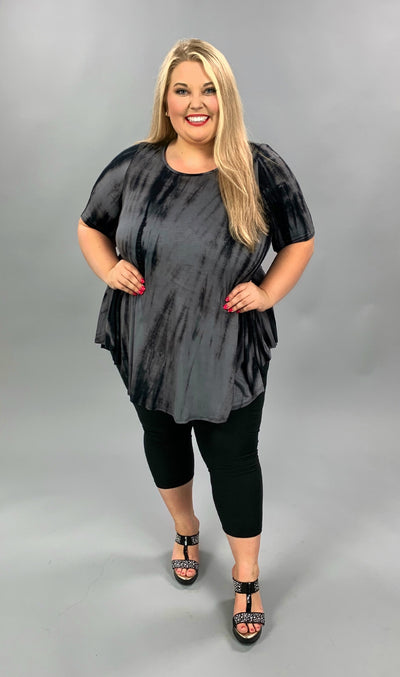 PSS-D {Hold On To That Feeling} Charcoal Tie Dye Tunic EXTENDED PLUS 3X 4X 5X