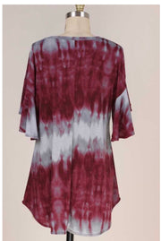 PSS-Q {Seeing Clearly} Grey Burgundy Tie Dye Ruffle Sleeve Top PLUS SIZE XL 2X 3X