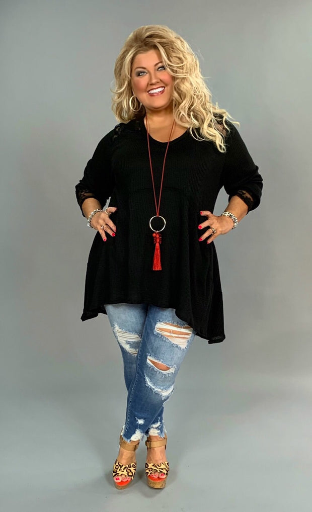 SLS-Q {She's Got Class} Black Waffle Knit V-Neck Tunic with Lace Detail Extended Plus