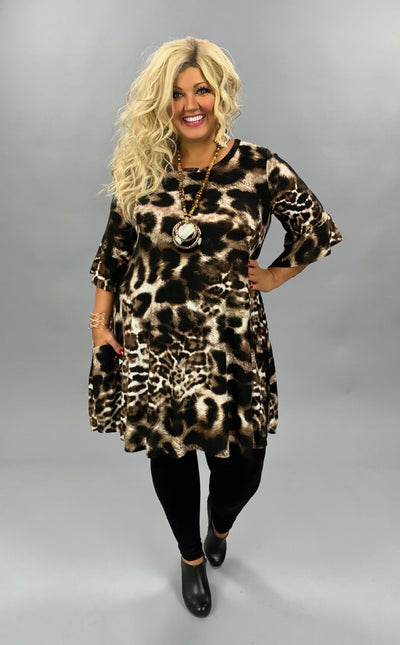 PSS-A {Dress To Impress} Brown Black Animal Print Dress PLUS SIZE 1X 2X 3X