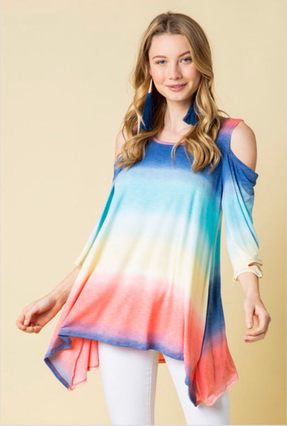 OS-N {Understand Me} Rainbow Colored Open Shoulder Top Extended Plus