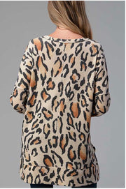 11-14 PLS-B {Class Dismissed} Taupe Rust Animal Print Tunic PLUS SIZE XL 2X 3X