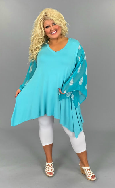 CP-B {Not So Basic} Blue V-Neck Tunic Turq. Sheer Sleeve PLUS SIZE 1X 2X 3X SALE!!