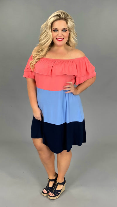 OS-C {Marina Del Rey} Coral/Steel Blue/Navy Colorblock Dress PLUS SIZE 1X 2X 3X