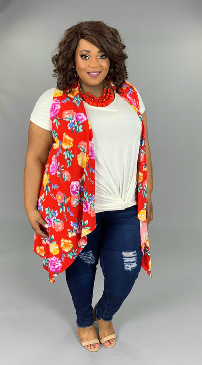 OT-G (Flower Power) Red Vest With Floral Print PLUS SIZE 1X 2X 3X