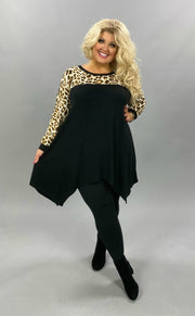 20 CP-M {Something Fierce} SALE!! Black Leopard Print Contrast Tunic CURVY BRAND EXTENDED PLUS SIZE 3X 4X 5X 6X