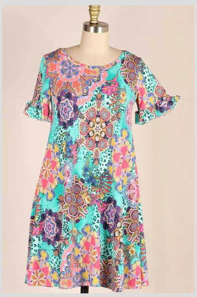 PSS-J {Crazy For You} Jade Multi-Print Dress PLUS SIZE 1X 2X 3X