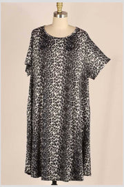 PSS-B {Once A Cheetah/Always A Cheetah} Black/White Animal Print Dress EXTENDED PLUS SIZE 3X 4X 5X