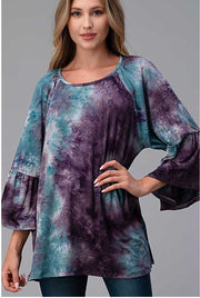 29 PQ-F {No Filter} Purple Blue Tie Dye Tunic PLUS SIZE XL 2X 3X