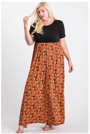 LD-D {Orange Slice} Black & Orange Print Maxi Dress PLUS SIZE 1X 2X 3X