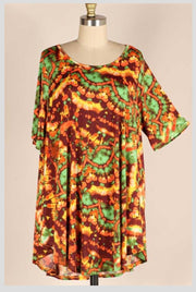 PSS-H {Always Spicy} Orange, Yellow, Green Print Tunic EXTENDED PLUS SIZE 3X 4X 5X