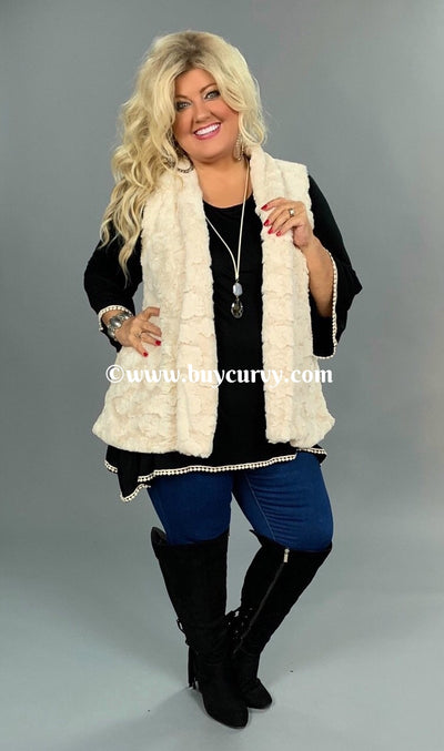 OT-S {A Dream Come True}  Soft Cream Fur Vest with Pockets
