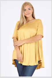SSS-E (A Must Have)  Mustard Tunic With Rounded Hem EXTENDED PLUS 3X 4X 5X