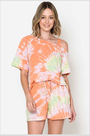 SET-C {Boho Chick} Orange & Green Tie Dye Lounge Set PLUS SIZE 1X 2X 3X SALE!!