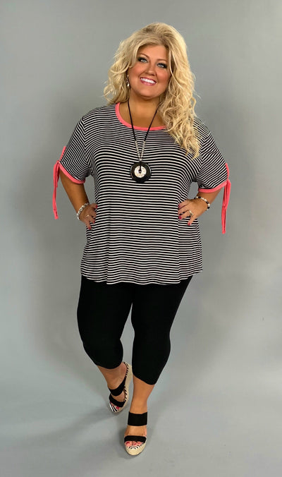 PSS-B {Fashion Fix} Black Striped Top with Pink Detail Extended Plus SALE!!