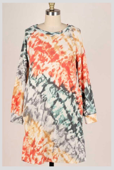 PLS-B {True Believer} Orange Grey Aqua Tie Dye Knit Dress PLUS SIZE XL 2X 3X