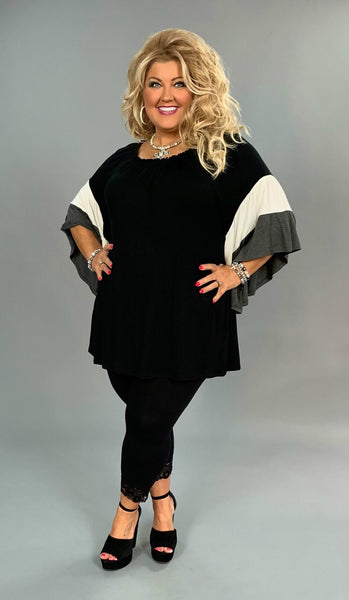 CP-A {Told You So} Black Tunic Gray/Ivory Bell Sleeves Extended Plus