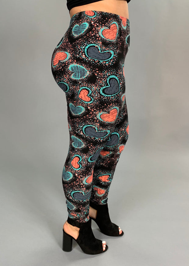 BT/B Salmon/Teal Heart Leggings (Soft) EXTENDED PLUS SIZE