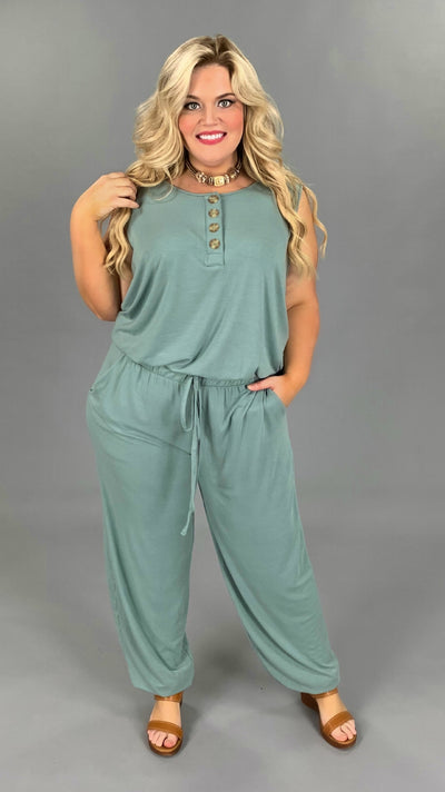 RP-O {Day One} Robin's Egg Blue Jumpsuit with Button Detail/Elastic Waist & Ankle PLUS SIZE 1X 2X 3X