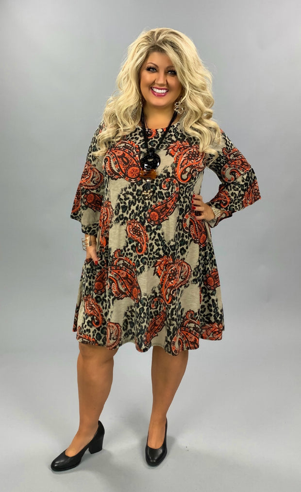 PQ-B {Petal Perfect} Taupe Brown Orange Paisley Leopard Dress PLUS SIZE XL 2X 3X