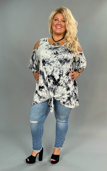 OS-O {Something To Brag About} Black & Ivory Tie Dye Tunic