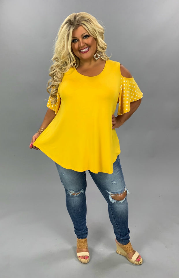 OS-A {Soft Spoken} Yellow Gold Polka Dot Cold Shoulder Tunic CURVY BRAND EXTENDED PLUS SIZE 3X 4X 5X 6X SALE!!