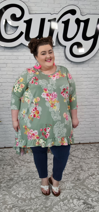 62 LD-K {Island Of Flowers} Sage Floral Paisley Hi-Lo Top CURVY BRAND EXTENDED PLUS SIZE 3X 4X 5X 6X