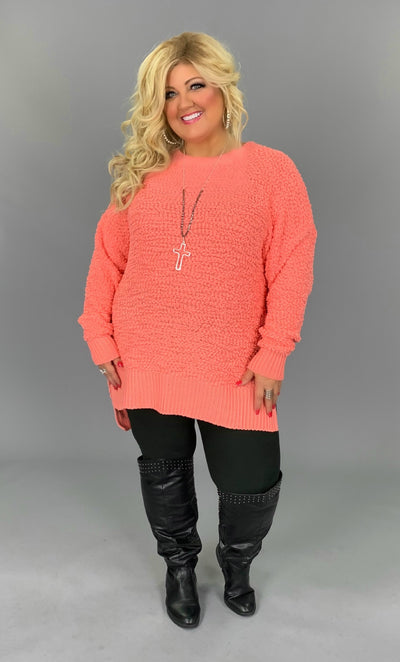 SLS-C {Simple Solution} Coral Popcorn Sweater SALE!!