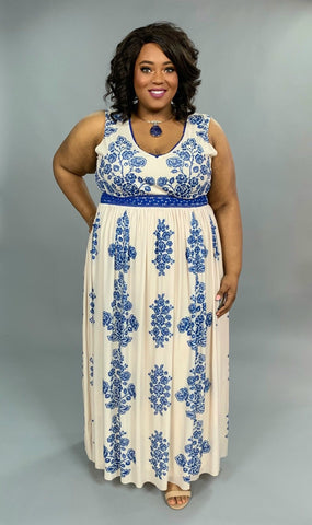 LD-X {Superstar Look} Sleeveless Blue Floral Lined Maxi Dress