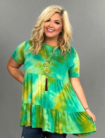 PSS-G {Happy Now} Aqua/Mustard Tie-Dye Tunic or Dress FLASH SALE!!